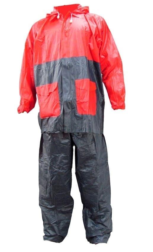 Jas hujan jaket celana Gajah - bicolor - merah hitam