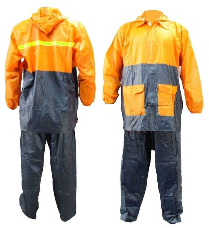 Jas hujan jaket celana Gajah - bicolor - orange hitam