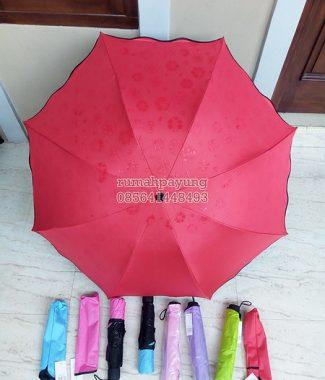 payung lipat 3d gelombang dalam hitam