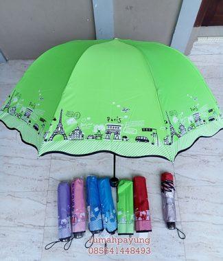 Payung Lipat Sakura Gelombang Motif Paris Kecil