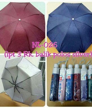 PL3003NG-Payung Lipat 3 Dengan Sarung Lapis Silver (pilih warna)