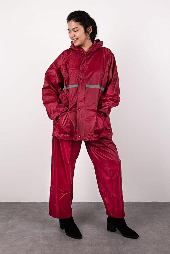 jas hujan jaket celana-8070-1 merah marun