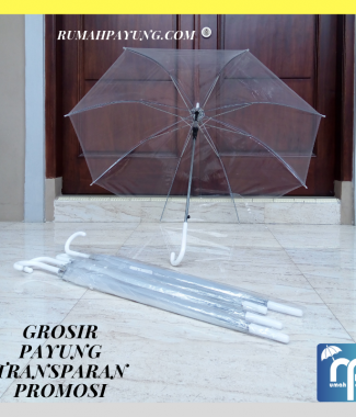 Payung Transparan Panjang Putih