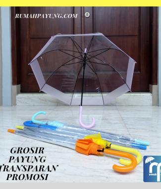 Payung Transparan Panjang List Besar