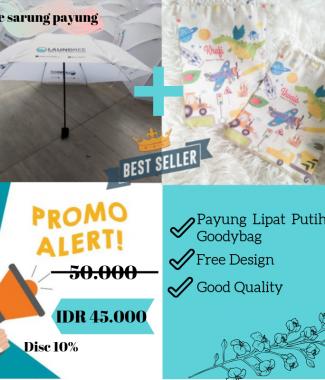 Payung Lipat Putih + Goodybag