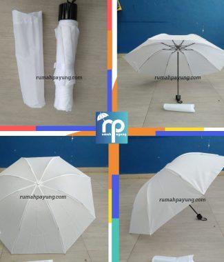 payung lipat tiga polos warna putih rangka anti angin