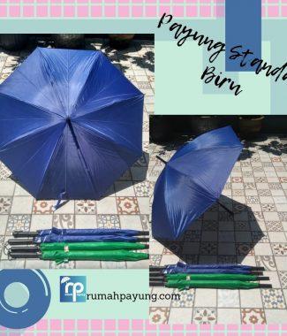 payung standar warna biru gagang lurus